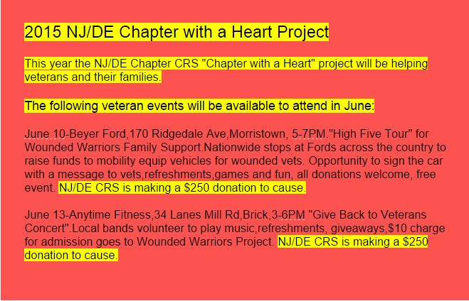Chapter with a Heart events for June