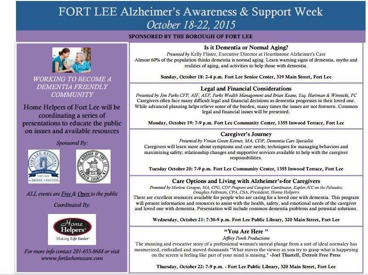 Fort Lee TO HOLD FIRST-EVER ALZHEIMER'S AWARENESS PROGRAMS  October 18-22, 2015 TO RAISE AWARENESS AND HELP FAMILIES