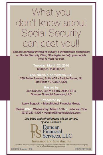 TASS to hold Social Security Filing Strategies seminar