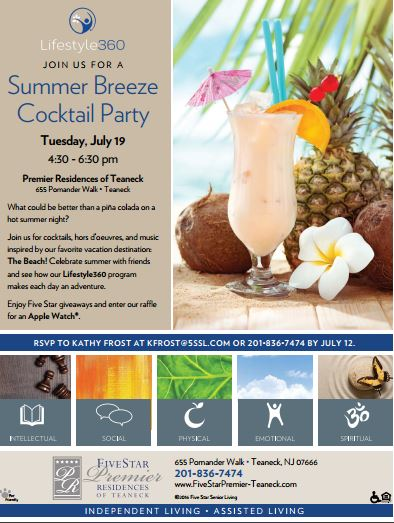 Summer Breeze Cocktail Party to be held July 19th