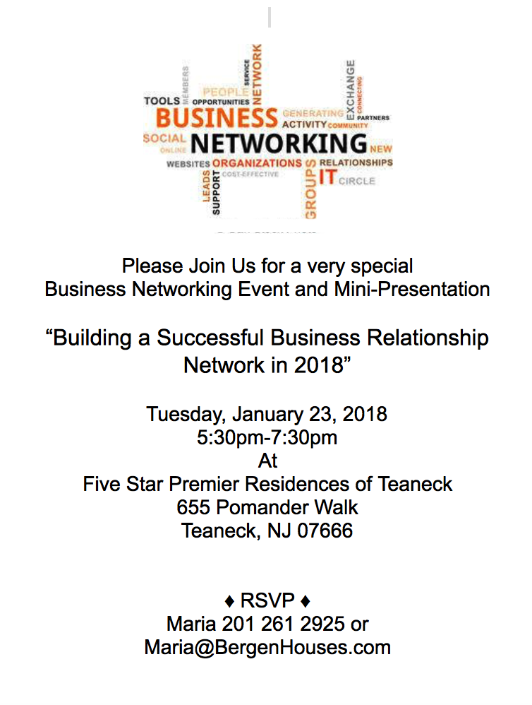 'Building a Successful Business Relationship in 2018' presentation to be held Jan. 23rd