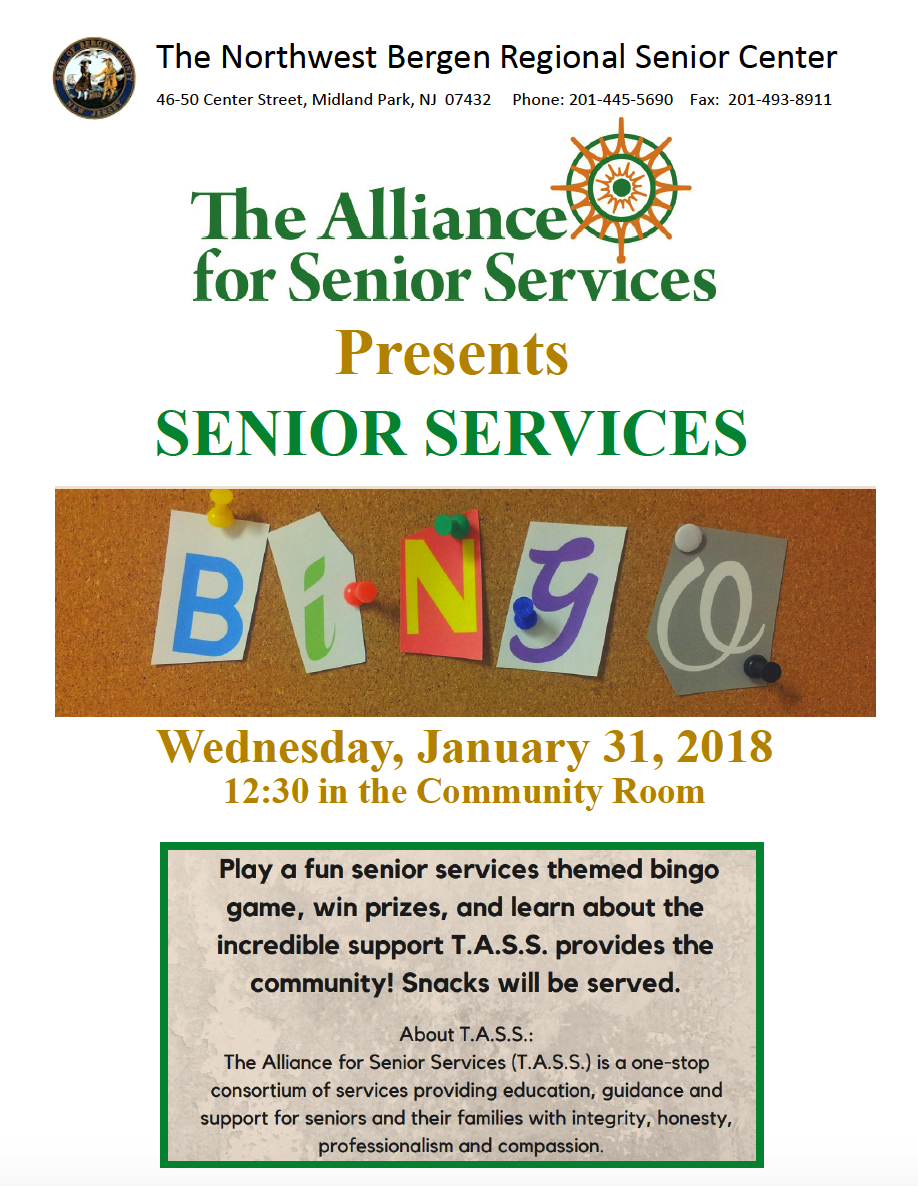 TASS to present Senior Services BINGO Jan. 31st