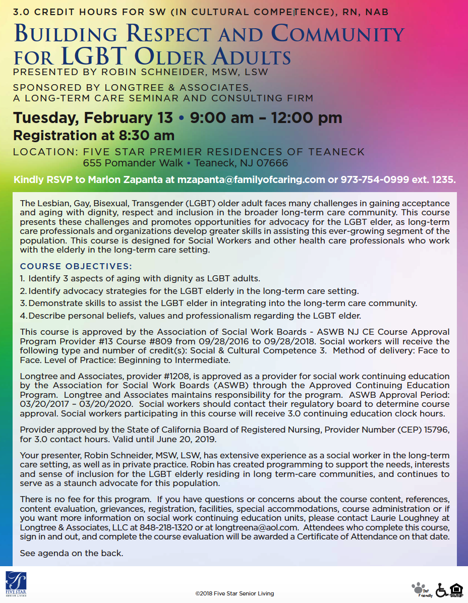 CEU Opportunity Feb. 13th: Building Respect & Community for LGBT Older Adults