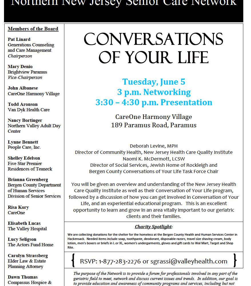 "NNJSCN hosting ""Conversations of Your Life"" on June 5th"