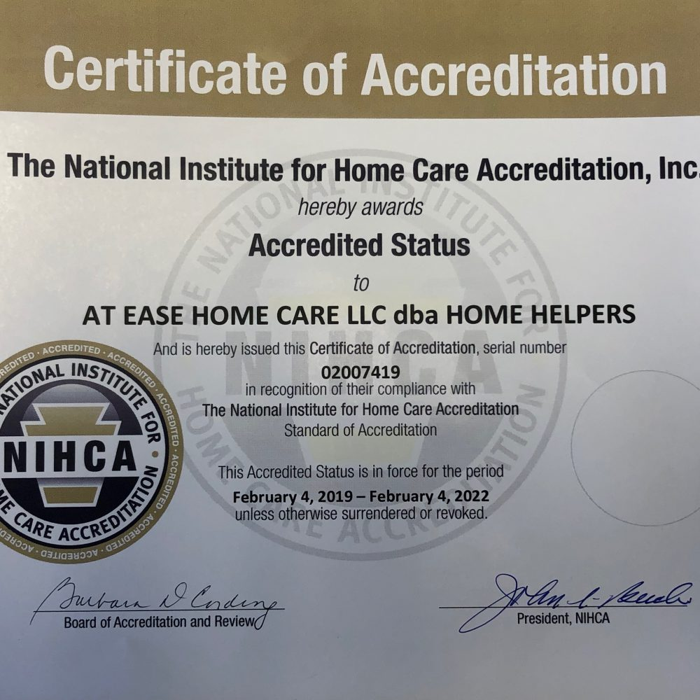 HOME HELPERS IS AWARDED NJ ACCREDITATION